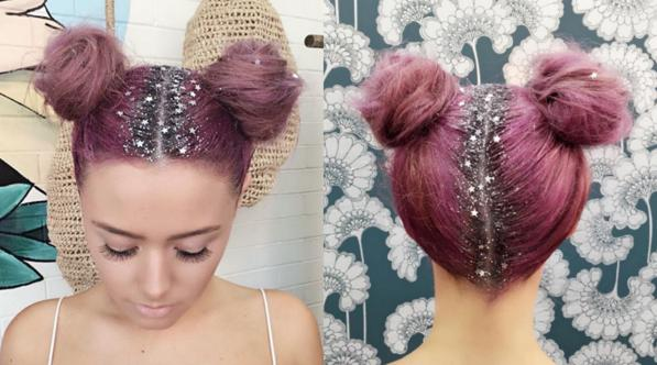 Moda capelli inverno 2016- la riga con i glitter per le feste 2