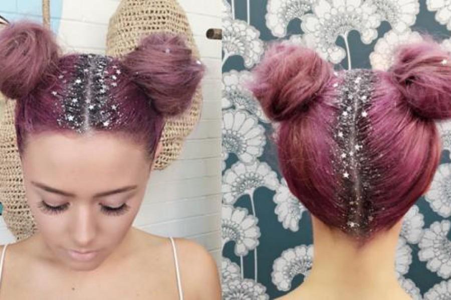 Moda capelli inverno 2016: la riga con i glitter per le feste